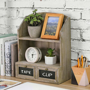 MyGift Rustic Distressed Brown Wood Display Shelf with Drawers and Chalkboards