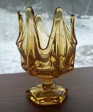 ANTIQUE VIKING GLASS AMBER FLOWER CANDY, NAPKIN OR HANKIE DISH