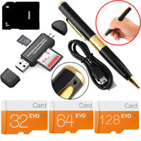 Class10 32-128GB Micro Memory Card Adapter Mini DVR Hidden Pen Camera Recorder