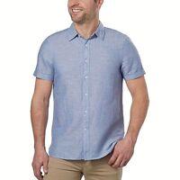 NEW! Perry Ellis Men's Linen Blend Short Sleeve Shirt, Blue Size XXLarge