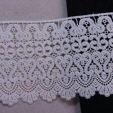 """Cotton Lace Trim Natural Guipure Corchet 12.5cm(5"""") Wide Ivory 1yard"""