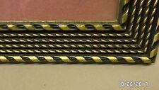 2568M Vtg Ornate 8x10 Wood Photo Frame BLACK & GOLD Rope Design w/Glass EXC !
