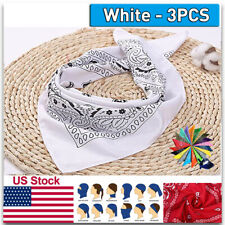 3PCS White Square Paisley Bandana Kerchief Cotton Neck Scarf Biker Headwear US