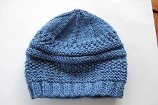 Hand-knitted Baby Boy Hat - Airforce Blue - 3-6 months