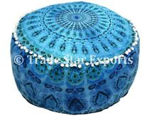 Mandala Pouf Cover Seating Footstool Ottoman Pouffe Cover Boho Round Floor Case