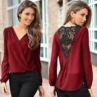 Women Sexy V-neck Tops Loose Long Sleeve T-shirt Casual Lace Splice Blouse LOT