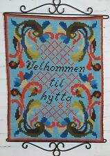 """Norwegian Rosemaling Wall Hanging Banner Bell Pull 23""""x17"""" Velkommen til hytta"""
