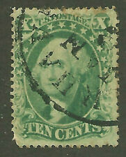 1857 US SC 33 Type 3 Used 10c Yellowish Green Washington CDC Fine      8
