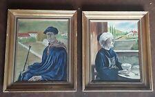 Deux ancien tableaux peinture huile,  Homme et Femme Basques .signe