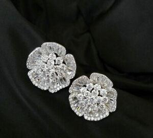 18k White Gold GF Button Earrings w/ 5A Lab Diamond Cluster Stone Gorgeous