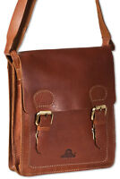 Woodland® Büffel Leder Schultertasche / Messenger bag in Braun (OIL PULL-UP)