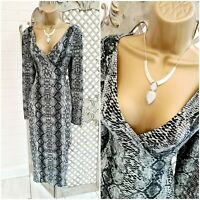 BLUE VANILLA UK 14Grey Snakeskin Animal Print Wrap Over & Tie Midi Dress
