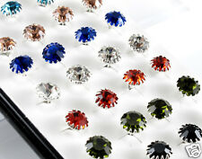 40pcs Lots Wholesale Silver p Women Crystal Stud Earring With Box Mix Color 3mm