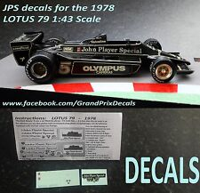 Formula 1 car collection LOTUS79 1978 JPS water slide decals 1:43 scale F1 IXO