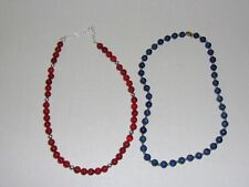 Lot of 2 Stone Bead Necklace - Blue Lapis & The Carnelian Clasp Is Marked 925