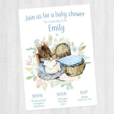 10 x PERSONALISED BABY SHOWER BEATRIX POTTER / PETER RABBIT INVITATION BABY BOY