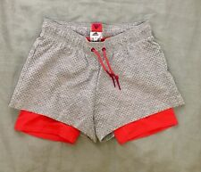 Adidas Women's 2 in 1 Gray Perforated Cotton Shorts Lined Sz Sm S Nwot