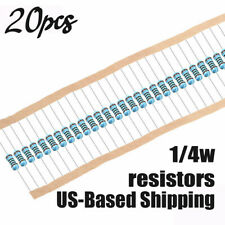 20pcs 1/4 Watt Metal Film Resistor ±1% All Values 1-22MΩ 10K 100K Ships from USA
