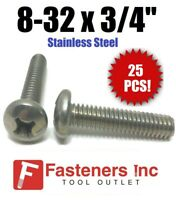 Stainless Steel 18-8 1//4-28 x 1//2 Pan Head Machine Screws Phillips Drive Full Thread Machine Thread Bright Finish Quantity 50 Pieces by Fastenere