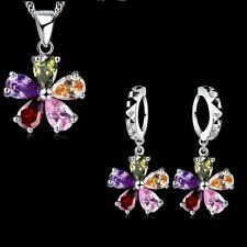 Silver Plated Multi Coloured Cubic Zirconia Flower Necklace Earrings Set