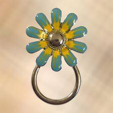 NEW Blue & Yellow Flower Eyewear Eye Glasses Spectacle Hanger Brooch Pin Holder