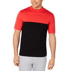 Alfani Men's Colorblocked Short Sleeve Sweater Black/Red 2XL