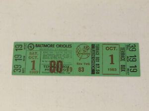 1983 Baltimore Orioles Vs New York Yankees Full Baseball Ticket 10-1-83 Ripken