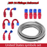AN6 Stainless Steel Braided PTFE Fuel Hose Line 20ft 10 Fittings Universal USA