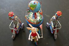 Vintage Toys Schylling Tin Elephant on a Bike, Spinning Globe,Happy Easter Bunny