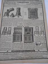 Publicité Ancienne 1928 Articles Chauffage Poêle Cheminée Mobilier cuisine