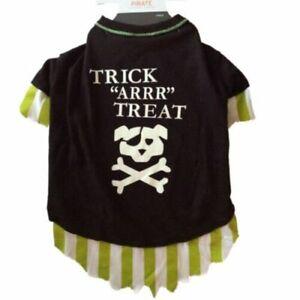 Dog Halloween Pirate Costume Trick Arrr Treat Pet Shirt Size XS Glow in the Dark