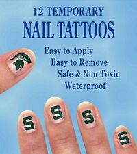 Michigan State Spartans Finger Nail Decals Temp Tattoos Set of 12 NCAA