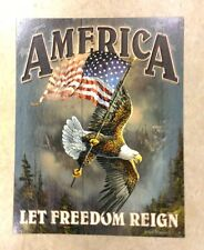 Sign America Let Freedom Reign USA Flag Eagle Metal 12 1/2x16 inch New