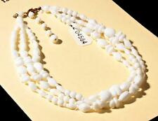 """14"""" 3 strand necklace white bicone oval triangle round Czech vintage glass beads"""