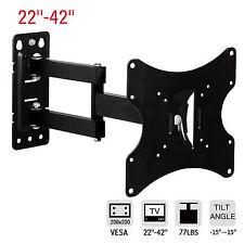 """22""""-42""""LCD LED Tilt & Swivel TV Wall Mount Bracket Plasma Flat Full Motion Black"""