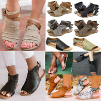 Women Gladiator Sandals Summer Beach Flat Heel Open Toe Shoes Strap Flip Flops