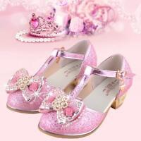 Girls Diamante Bowknot Close Toe Summer Sandals Kids High Heel Princess Shoes Sz
