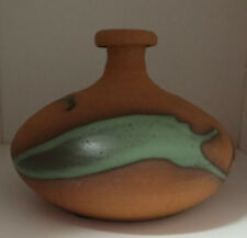 """Earthtone Drip Glaze Pottery Vase 4 3/8"""" Tall, Stamped Excellent"""