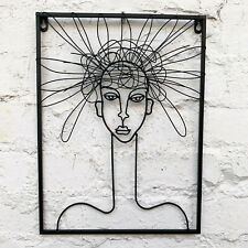 Wire Metal Sculpture Hairy Woman Female Minimalist Decorative Wall Abstract Art