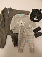 Baby Gap Chick Pea Baby Boy Clothing Lot Grey 3-6 months Sleeper Hat Mittens