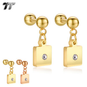 TT Surgical Steel Square Dangle Ear Cartilage Tragus Earrings (BE165) NEW
