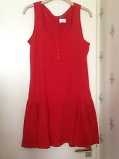 BNWT Ladies size 12 Red Cotton Dress/ Top button front sleeveless swirl front