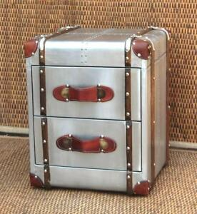 Vintage aluminium Aviator Bedside Trunk Chest Home Furniture Storage antique