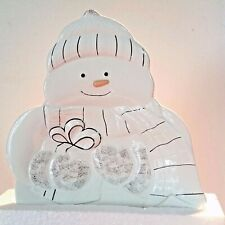 "Lenox Snowman Candy Dish 11"" White porcelain Platinum accents New In Box"