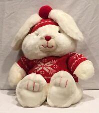 1987 Mervyn's Mervyns plush SNOW BUNNY Rabbit SNOWFLAKE Red Hat PlushI Stuffed