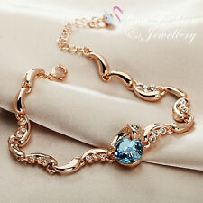 Thick 18K Rose Gold GF Made With SWAROVSKI Crystal Aquamarine Dolphin Bracelet
