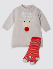 Bebé Niña Navidad Reno Traje Vestido Medias Set Rojo Beige 2 Pieza M&S