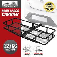 SAN HIMA Cargo Carrier Luggage Basket Car Rack Foldable Hitch Mount Steel Mesh