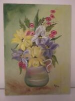 Vintage Still Life Painting Flowers Floral Oil on Canvas Signed Norma Barnette