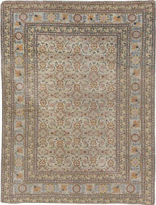 Antique T a b r i z Brown, Pink and Gray Handwoven Wool Rug BB6178
